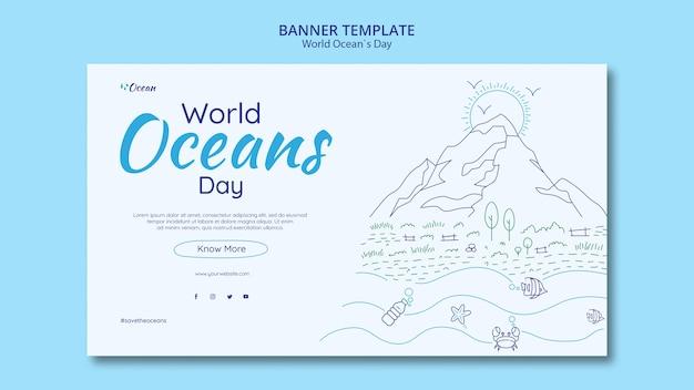Guarde la plantilla de banner del mundo submarino