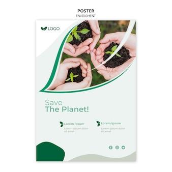 Guarde la plantilla del póster del planeta con las manos sosteniendo plantas en el suelo