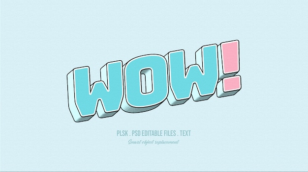 ¡guauu! efecto de estilo de texto 3d