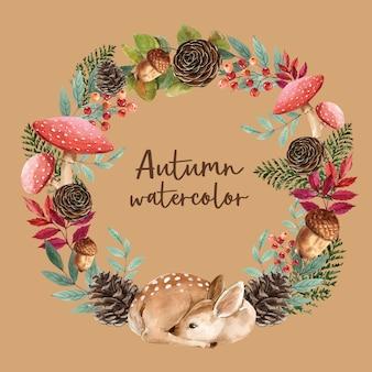 Guirnalda con tarjeta de tema de otoño