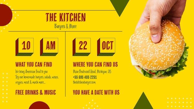 Gustoso menu di cucina americana con hamburger