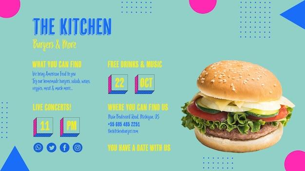 Gustoso menu di cucina americana per hamburger