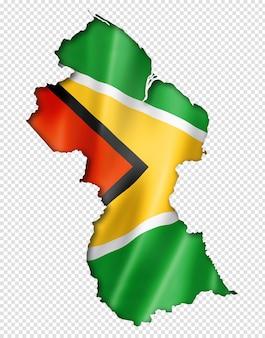 Guyana vlag kaart in driedimensionale render geïsoleerd