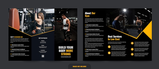 Gym en fitness driebladige brochure sjabloon