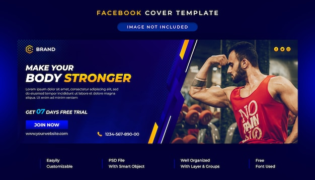 Gym en fitness facebook omslag en websjabloon voor spandoek