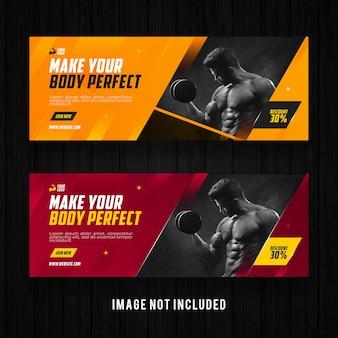 Gym en fitness facebook-sjabloon voor spandoek-promotie