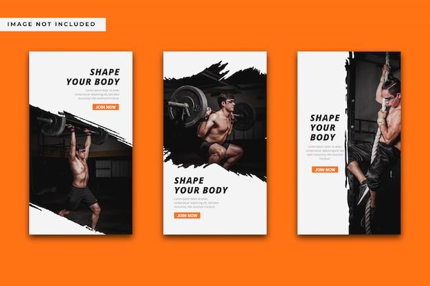 Gym en fitness instagram verhalen sjabloonverzameling.