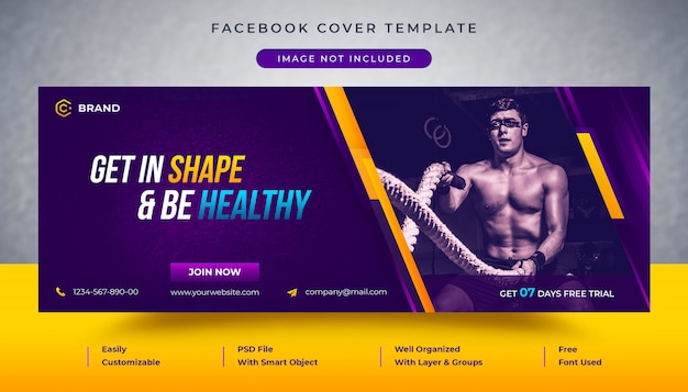 Gym en fitness promotionele facebook-omslag en webbannermalplaatje