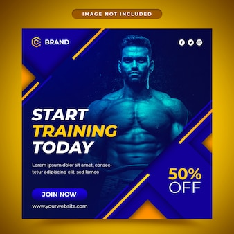 Gym en fitness promotionele social media post en webbanner sjabloon