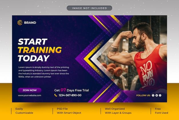 Gym en fitness promotionele webbanner of sjabloon voor spandoek van sociale media