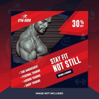 Gym fitness instagram post of vierkante flyer banner