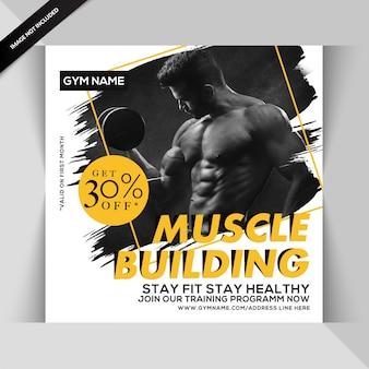 Gym fitness instagram post of vierkante flyer sjabloon