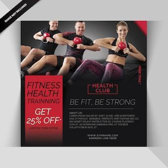 Gym fitness instagram post of vierkante sjabloon folder
