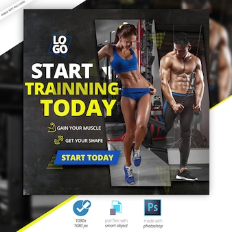 Gym fitness social media web-banners