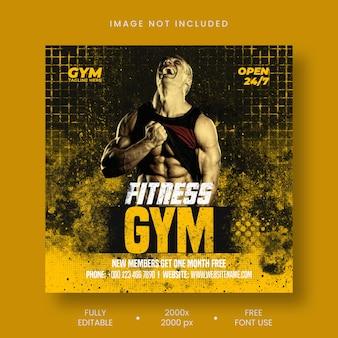 Gym fitness sociale media en instagram postsjabloon