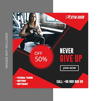 Gym fitness sociale media web banners psd sjabloon
