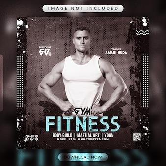 Gym fitnesss flyer of social media promotional banner template
