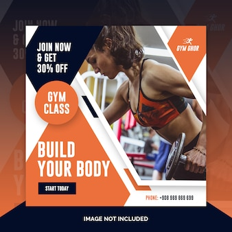 Gym lid adverteren sociale media post sjabloon