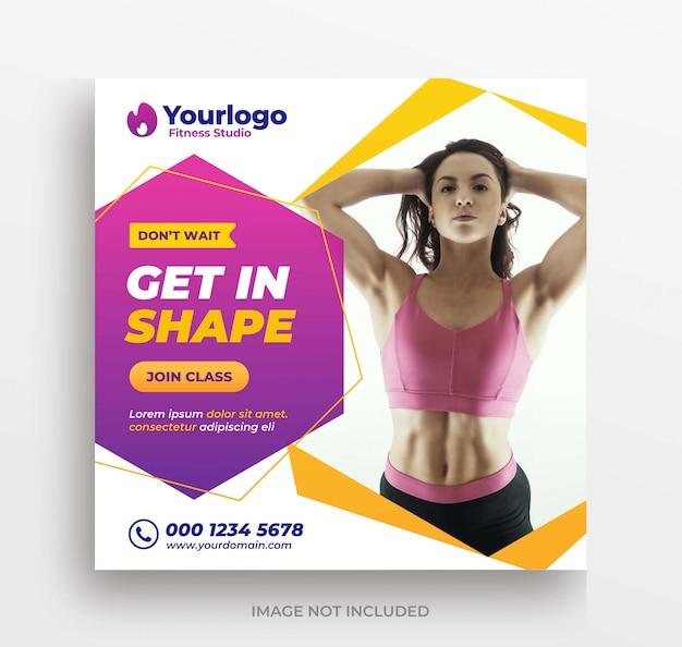 Gym of fitness training banner instagram post of vierkante sjabloon folder