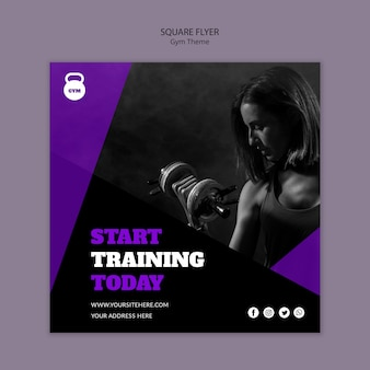 Gym thema concept vierkante flyer-sjabloon