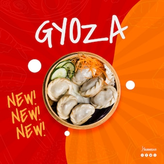 Gyoza of jiaozi nieuw recept voor aziatisch oosters japans restaurant of sushibar
