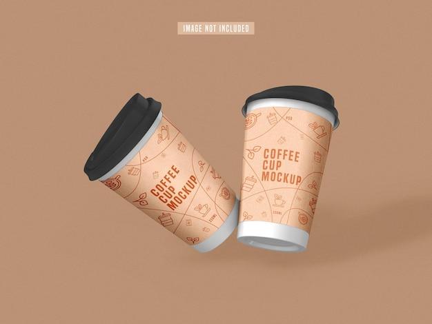 Haal het mockup van een papieren koffiekopje weg
