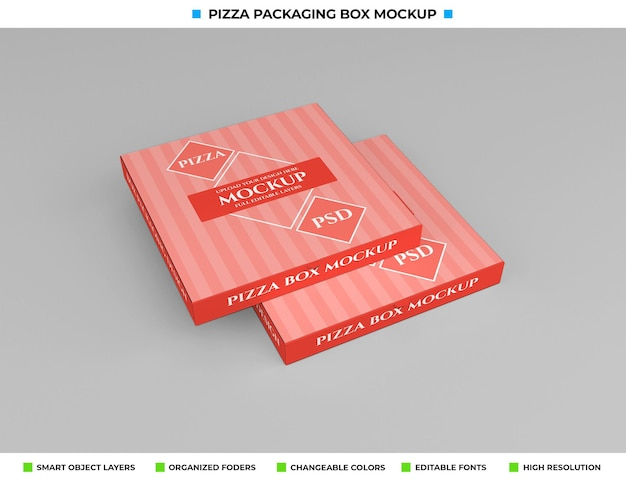 Haal het mockup van het kartonnen pizzadoospakket weg