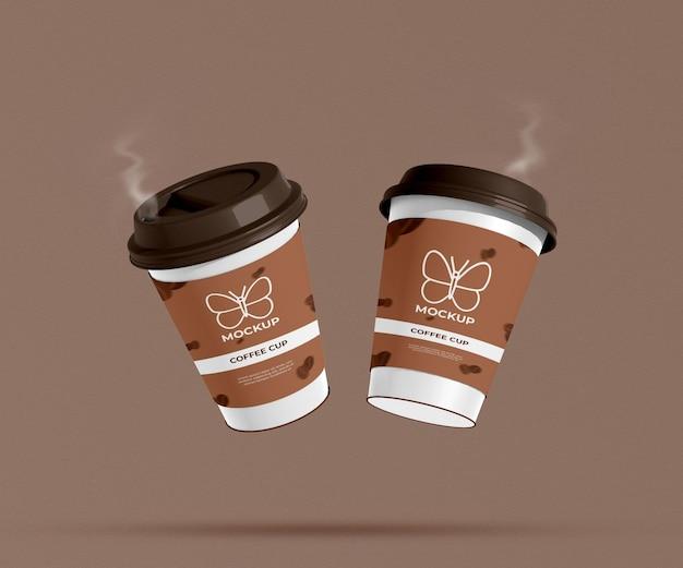 Haal papieren koffiebeker mockup met rook weg