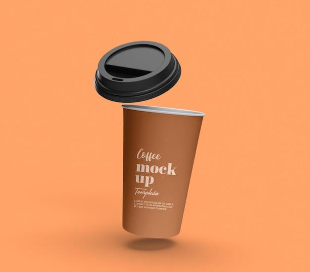 Haal vliegende papieren koffiebeker mockup weg