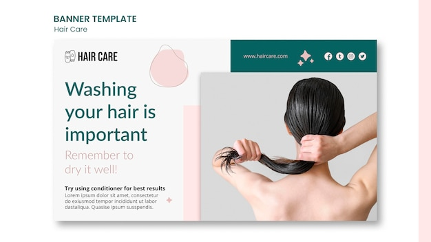 Haarverzorging advies banner sjabloon stijl