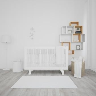 Habitación de bebé con cuna blanca.