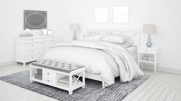 Habitación clásica o habitación de hotel con cama doble y muebles elegantes.