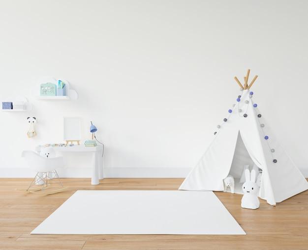 Habitación infantil con alfombra blanca y tipi