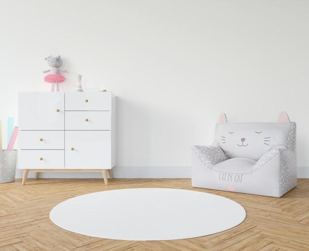 Habitación infantil con alfombra blanca.