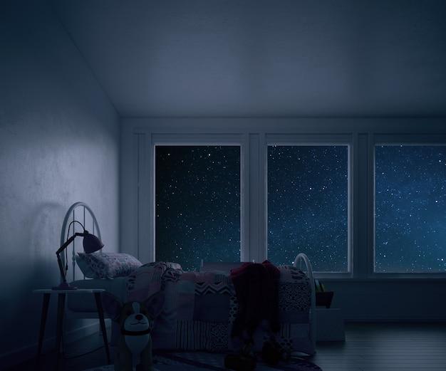 Habitación infantil con cama y juguetes por la noche.