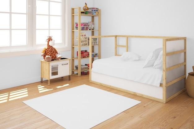 Habitación infantil con cama de madera.