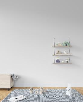 Habitación infantil con estantería y juguetes.
