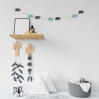 Habitación infantil con estantes y juguetes.