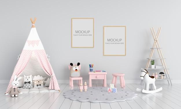 Habitación infantil gris con maqueta de marco