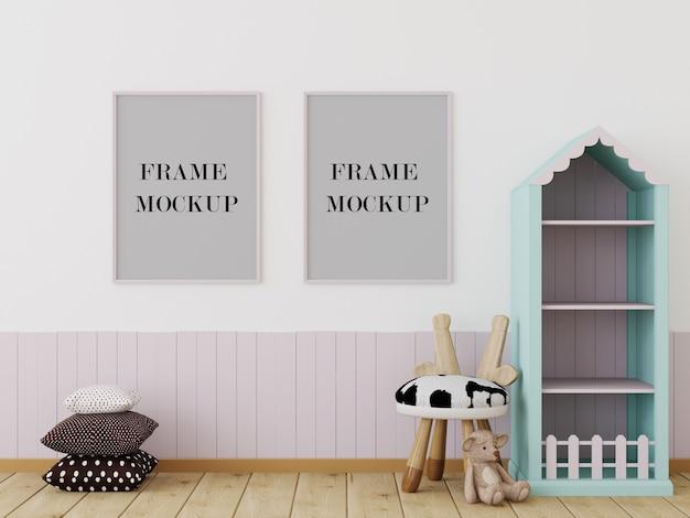 Habitación infantil con maqueta de marcos de cuadros.