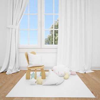 Habitación infantil con sillita y ventana blanca