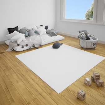 Habitación infantil con sofá y alfombra sobre suelo de madera.