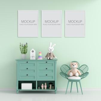 Habitación infantil verde con marco