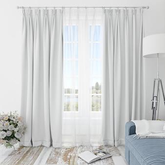 Habitación interior con cortinas blancas.