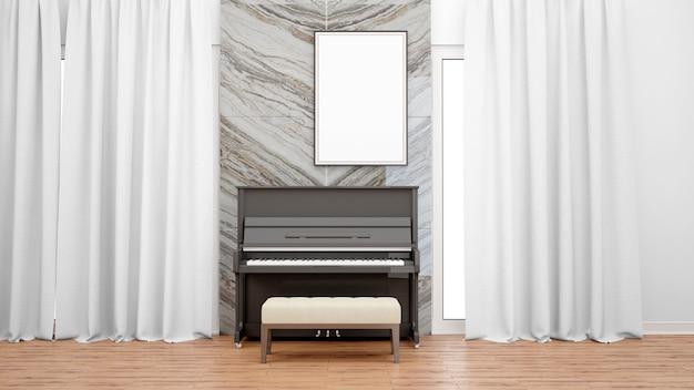 Habitación de lujo con piano de clase alta, cortinas blancas y marco de fotos.