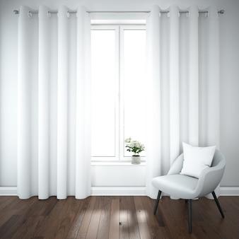 Habitación moderna con silla cómoda.
