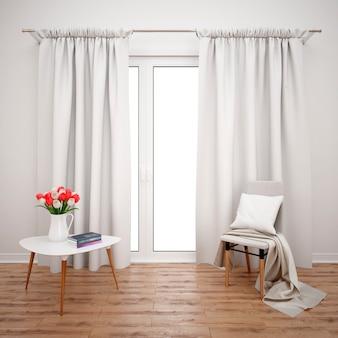 Habitación con muebles minimalistas y ventana grande con cortinas blancas.