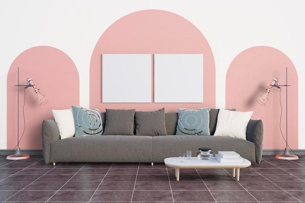 La habitación con un suave tono rosa