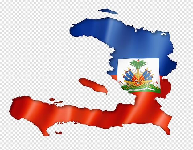 Haïti vlag kaart in driedimensionale render geïsoleerd