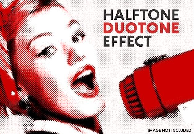 Halftoon duotoon foto-effect mockup